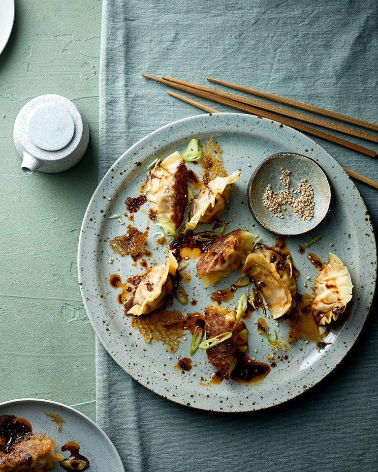 Crispy pork potsticker dumplings