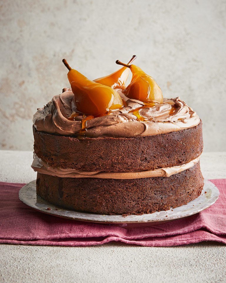 Chocolate cake with caramel poached pears and chocolate buttercream
