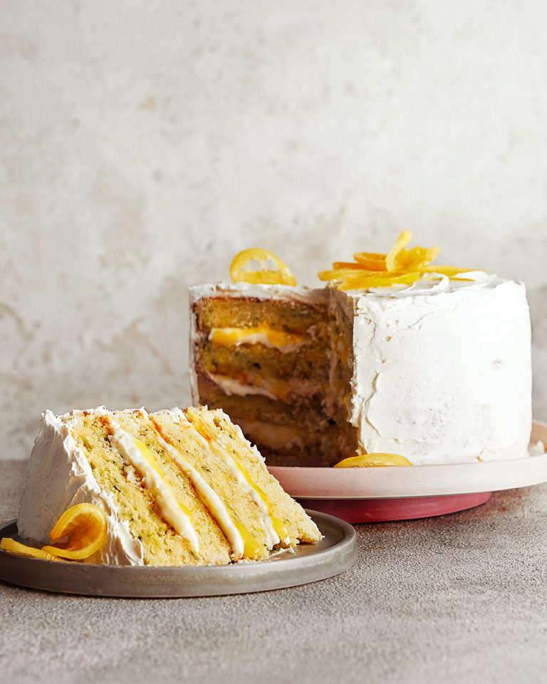 Lemon and courgette cake with white chocolate cream cheese frosting