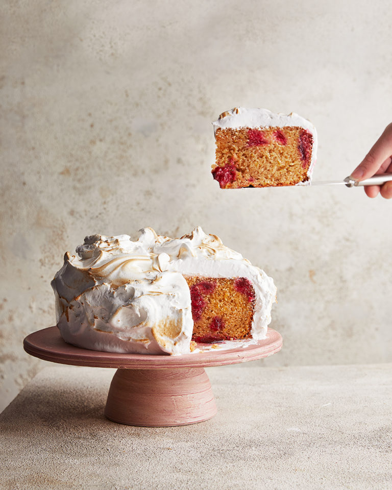 Spiced plum cake with swiss meringue frosting