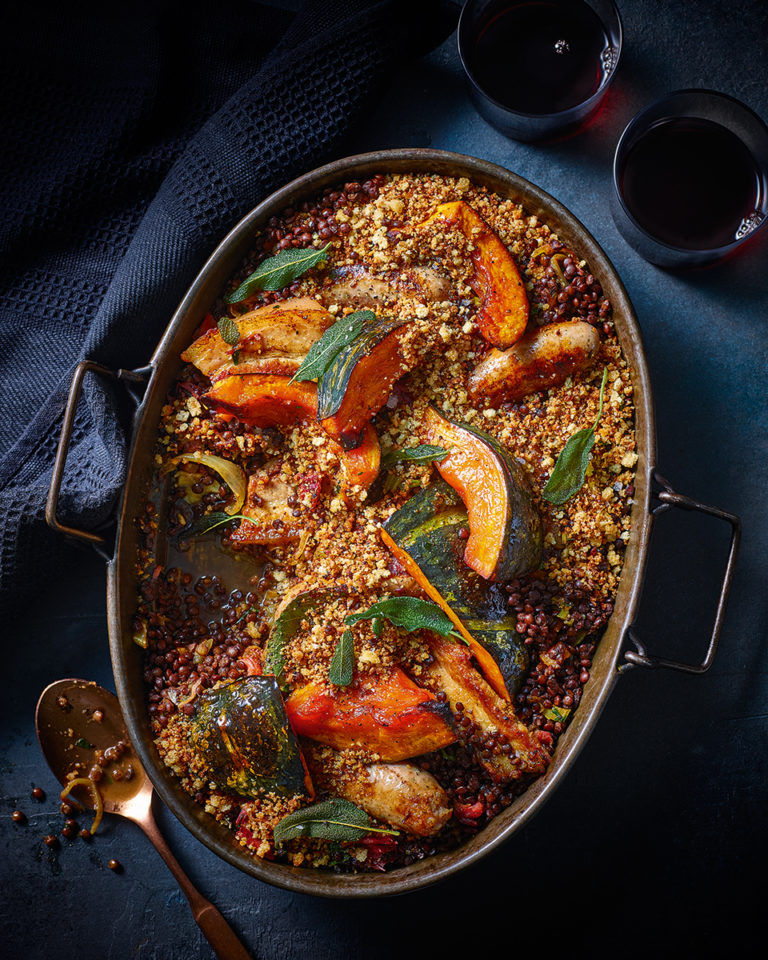 Braised pumpkin, lentil and pork casserole