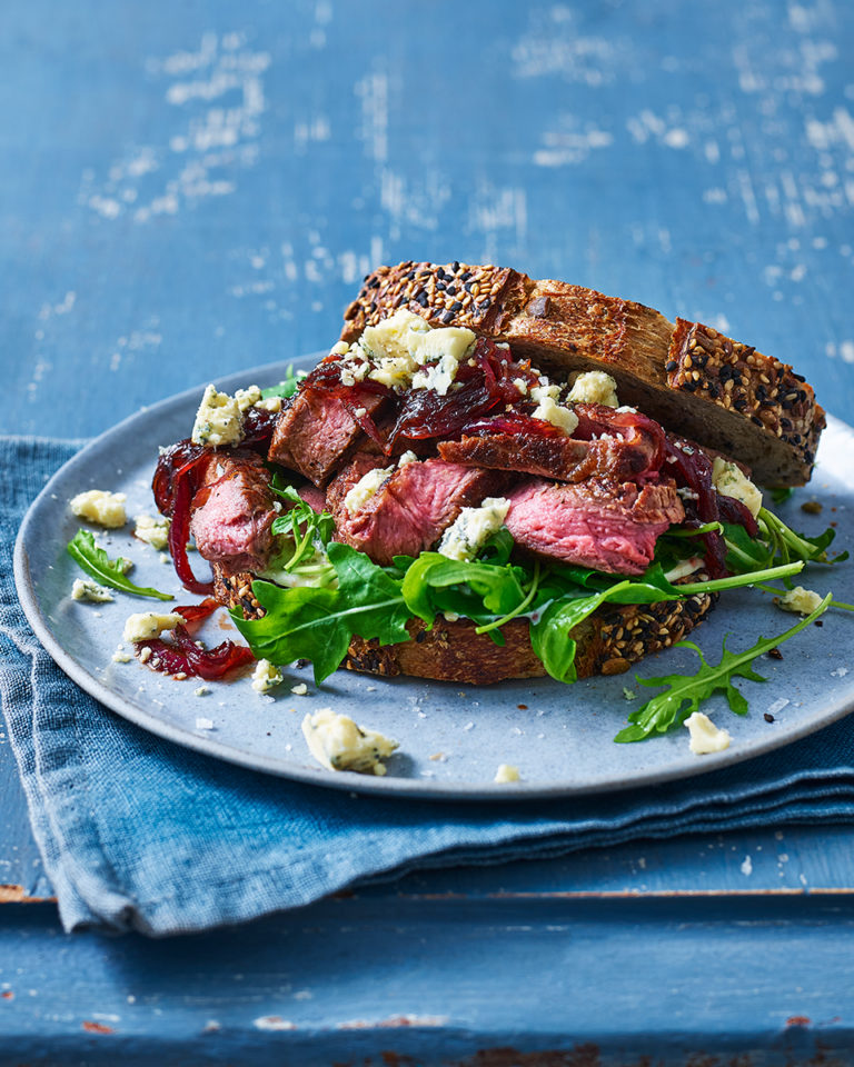 Steak sarnie with onions and blue cheese