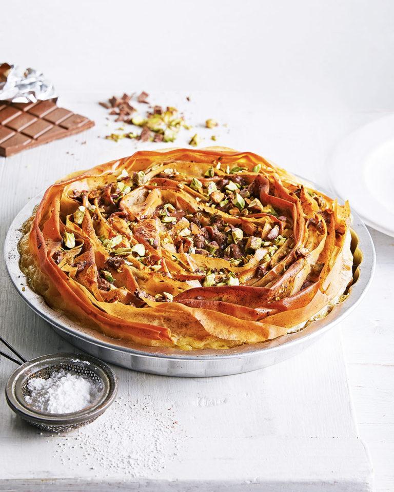 Chocolate tahini ruffle pie