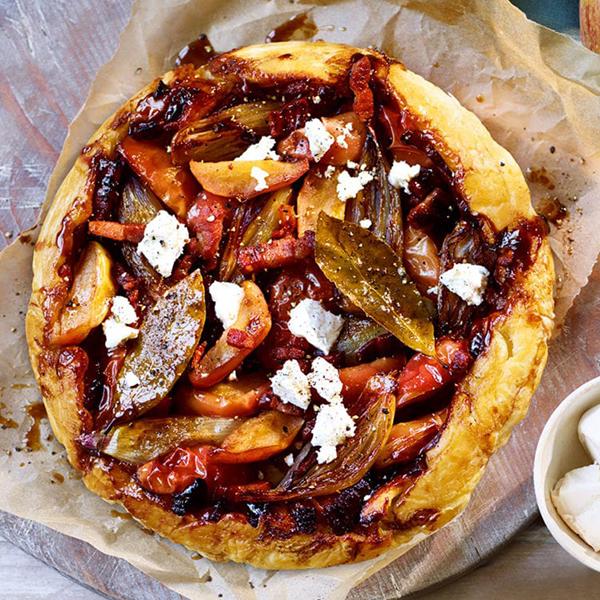 Apple and shallot tarte tatin