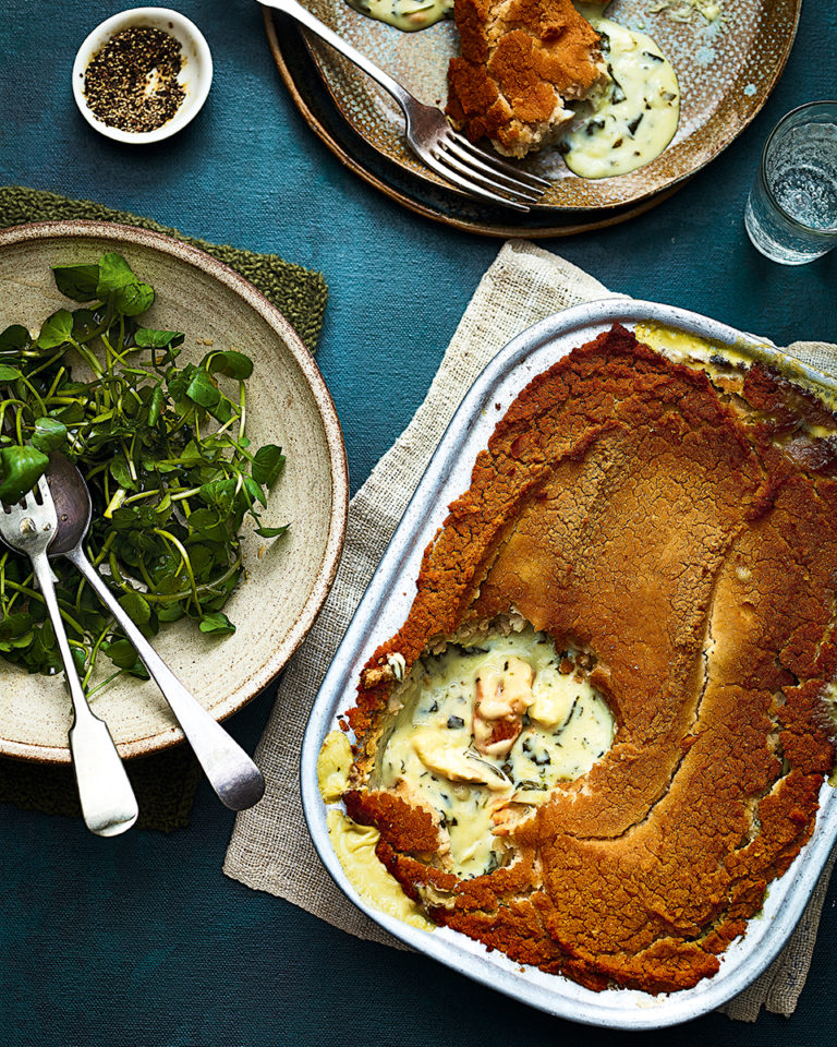 Smoked fish pie with butterbean mash
