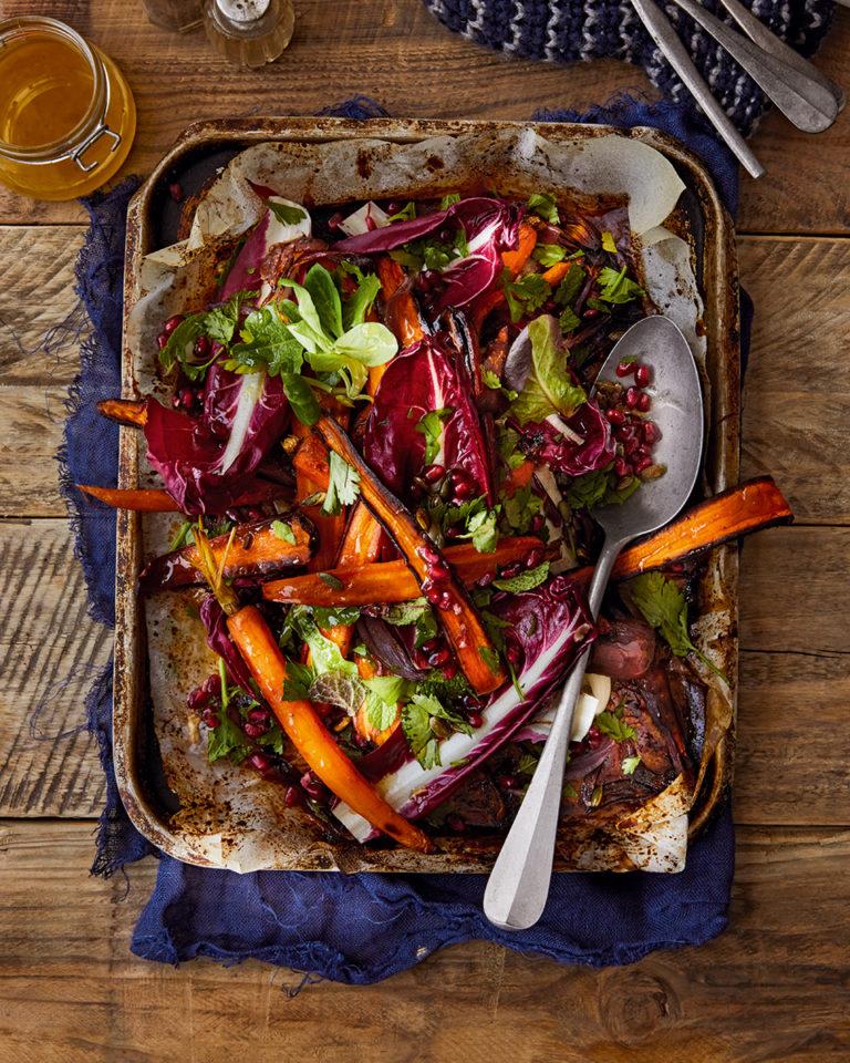 Roasted rainbow carrot salad